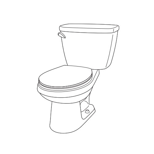 Gerber WS-21-502-97 Viper 12 in Rough-In Two-Piece Round Front Toilet with RH Tank - White
