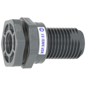 Hayward BFA1007TES 3/4-Inch Gray PVC Thread by Thread BFA Series Bulkhead Fitting with EPDM Standard Flange Gasket