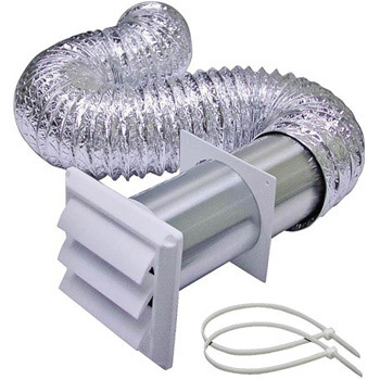 Lambro 1379W 4 in x 8 ft Laminated Transition Duct -Louvered Vent Kit