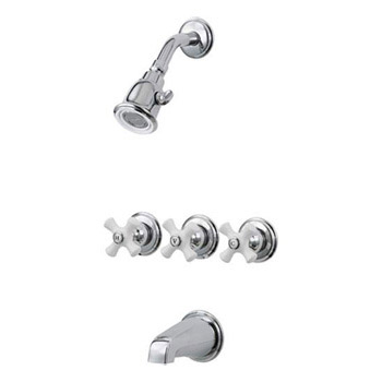 Pfirst 01-8CPC Three-Handle Tub and Shower Combo - Chrome