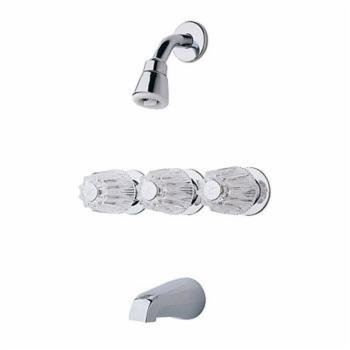 Pfister LG01-3120 3 Handle Tub and Shower Faucet With Metal Knob Handles - Chrome