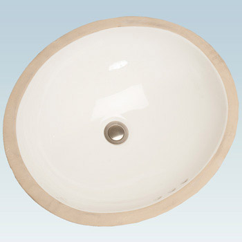 Western Pottery 196 20X17 in Oval Under Counter Center Drain Lavatory - White
